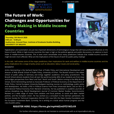 The Future of Work: Challenges and Opportunities for Policy Making in Middle Income Countries, 5 March 2020